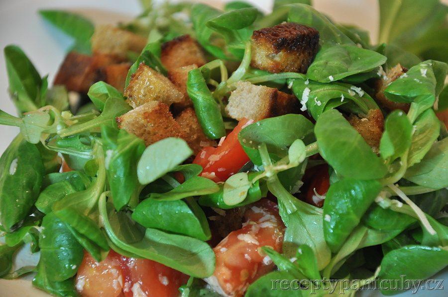 Zeleninový salát s opečeným chlebem a sýrem