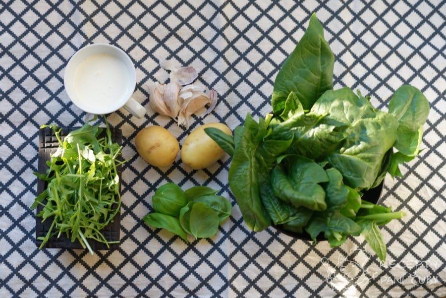 Krémová špenátová polévka - připravíme si suroviny