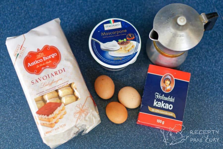 Pravé italské tiramisu - ingredience po kupě