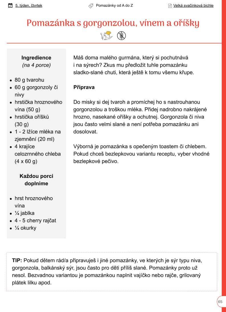 Pomazánka s gorgonzolou, vínem a oříšky - ukazka z Bichle - recept