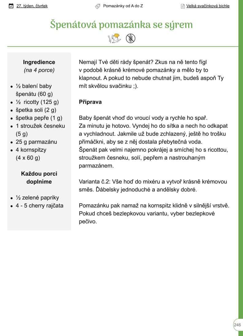 Špenátová pomazánka se sýrem - ukázka z BIchle - recept