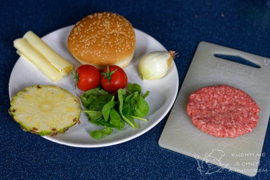 Hawaiský burger s ananasem - ingredience