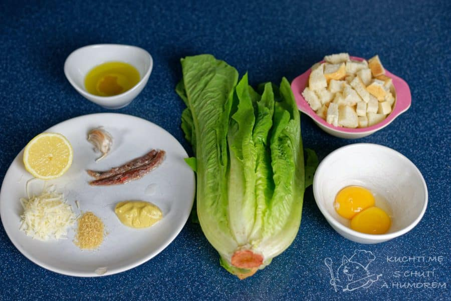 Klasický caesar salát - ingredience
