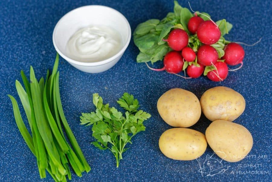 Jarní bramborový salát s ředkvičkami - ingredience
