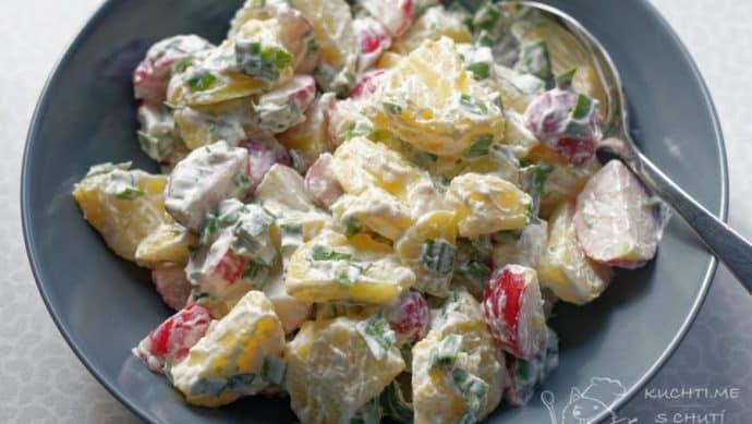 Jarní bramborový salát s ředkvičkami - jaj to je lahoda