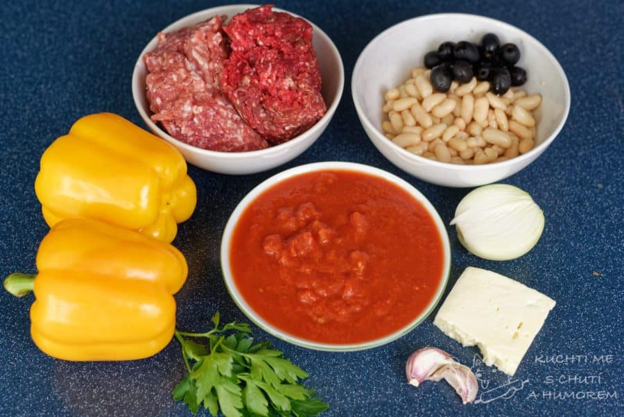 Pečené plněné papriky - ingredience