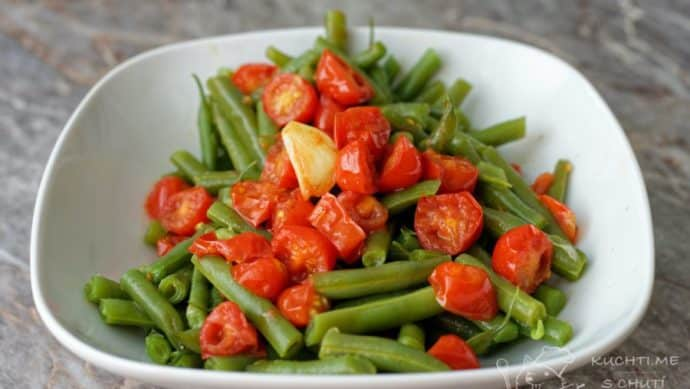 Zelené fazolky s rajčaty - nádhera