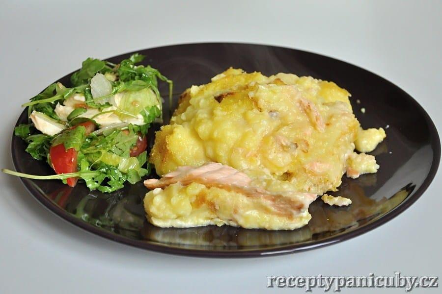 Losos pečený v bramborové krustě - jedna vyzdobená porce